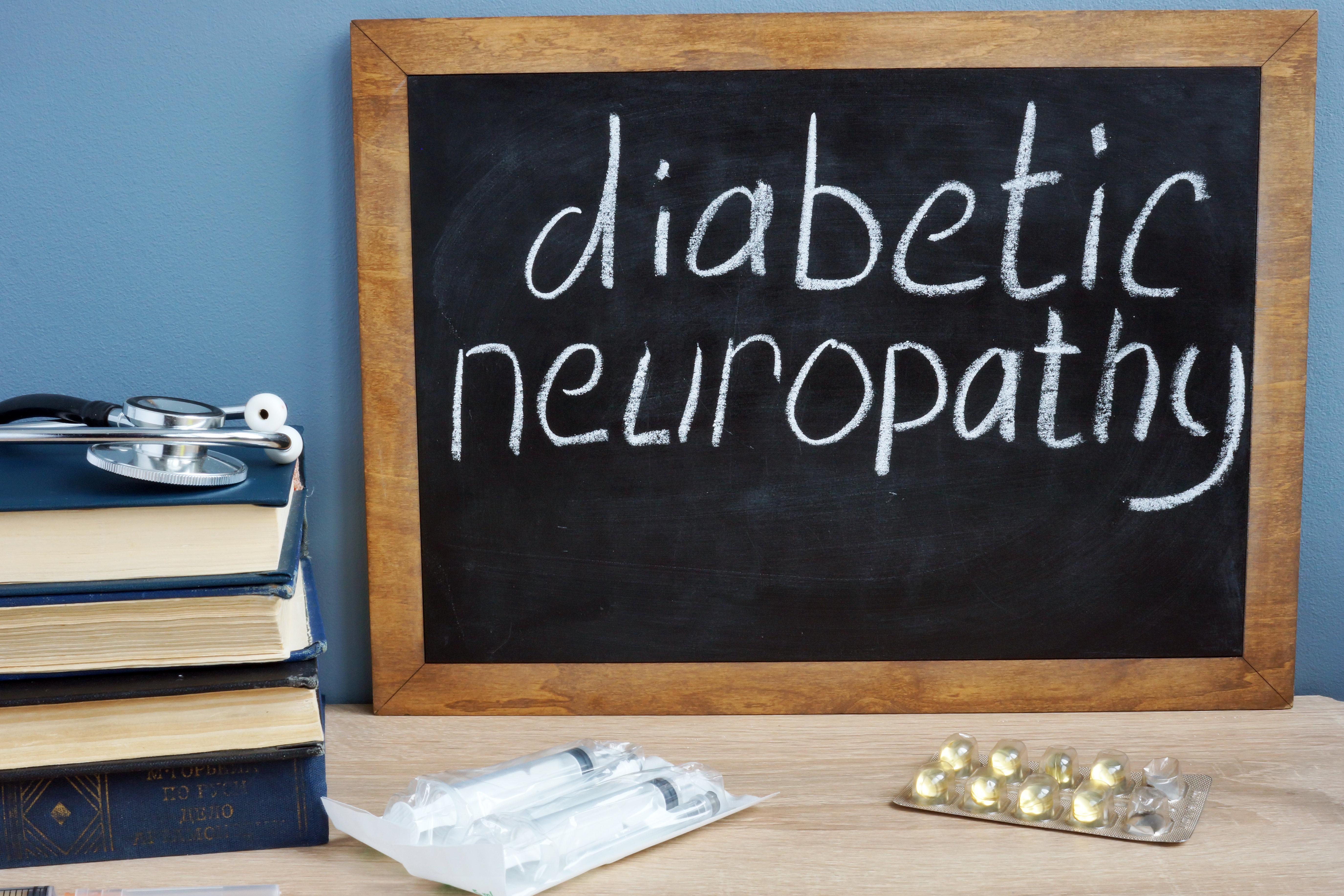 Diabetic neuropathy handwritten on a blackboard.