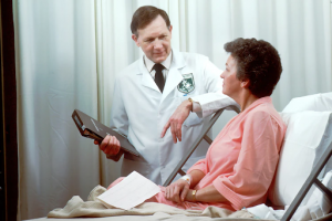 Doctor and female patient speaking